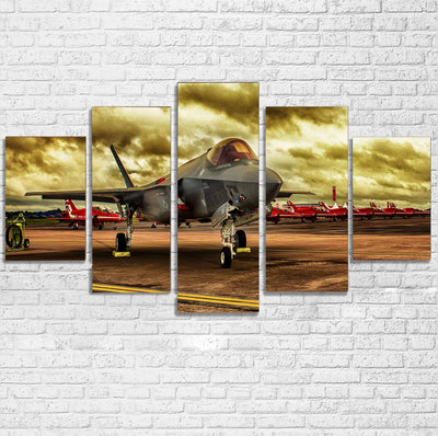 Fighting Falcon F35 at Airbase Printed Multiple Canvas Poster