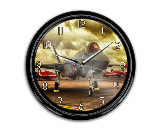 Fighting Falcon F35 at Airbase Printed Wall Clocks Aviation Shop