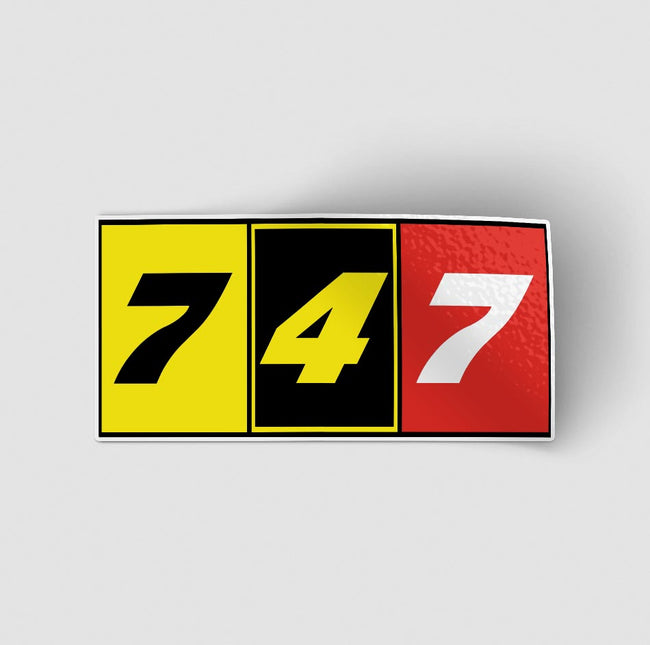 Flat Colourful 747 Designed Stickers
