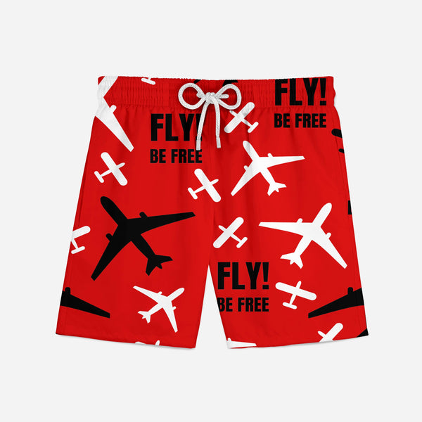 Fly Be Free (Red) Swim Trunks & Shorts