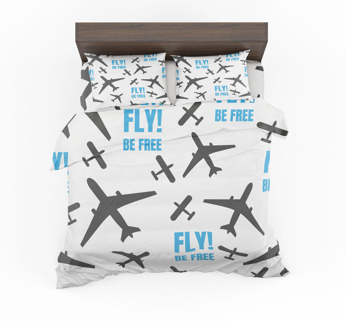Fly Be Free White Designed Bedding Sets