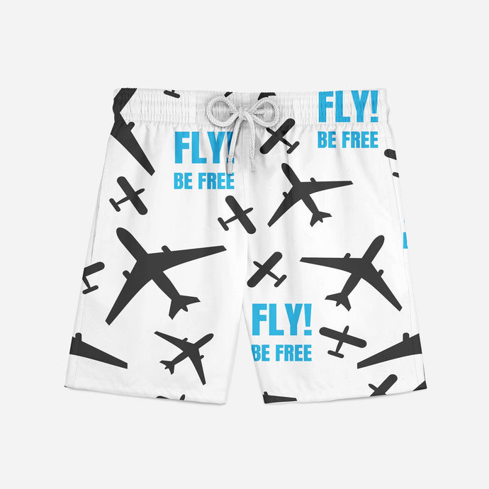 Fly Be Free (White) Swim Trunks & Shorts