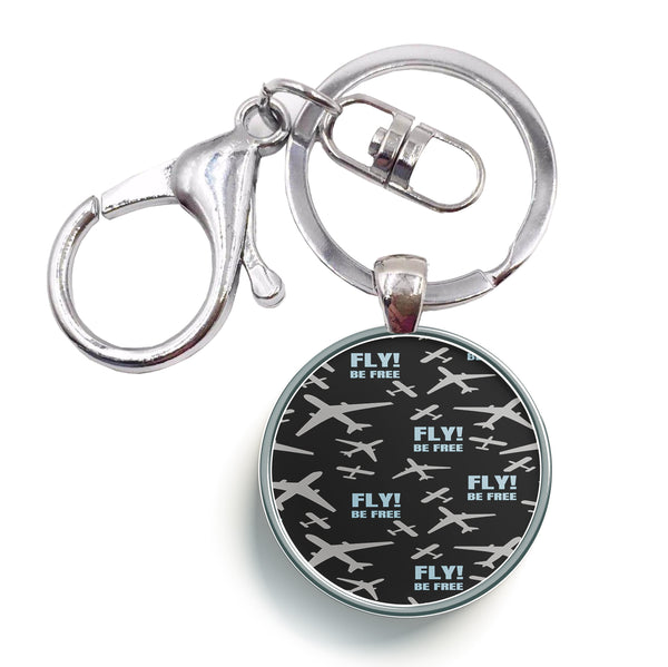 Fly Be Free Designed Circle Key Chains