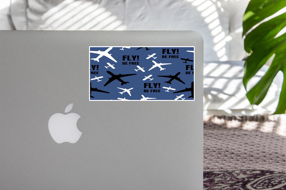 Fly Be Free (Blue) Designed Stickers