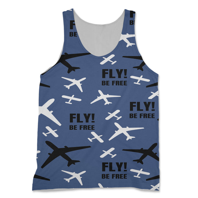 Fly Be Free (Blue) Designed 3D Tank Tops