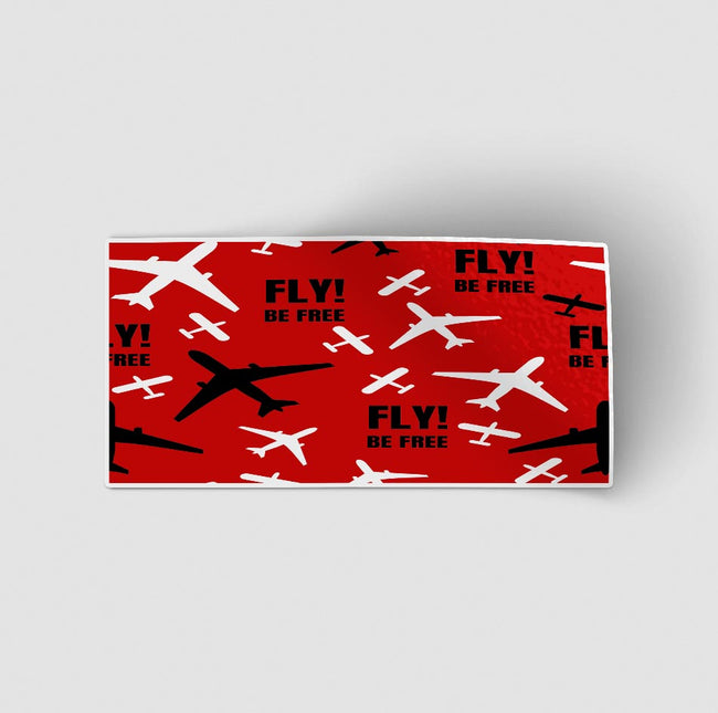 Fly Be Free (Red) Designed Stickers