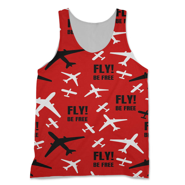 Fly Be Free (Red) Designed 3D Tank Tops