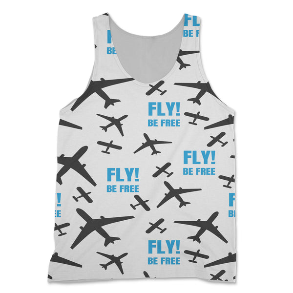 Fly Be Free (White) Designed 3D Tank Tops