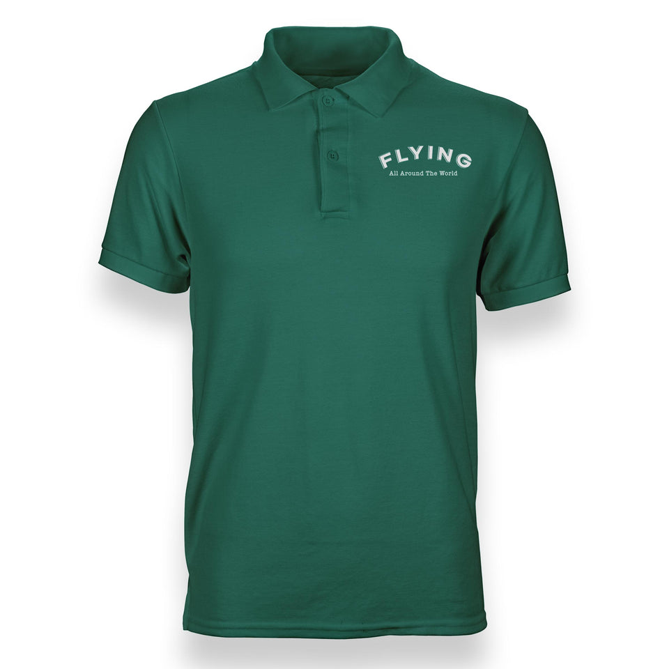 Flying All Around The World Designed Polo T-Shirts