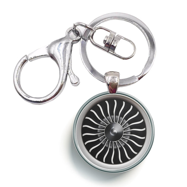 Graphical Jet Engine Designed Circle Key Chains