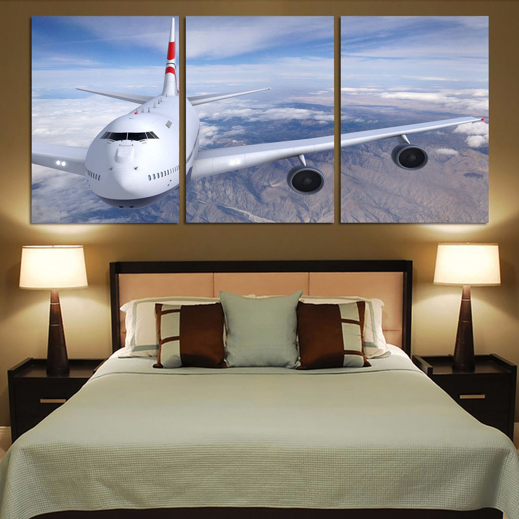 Graphical Boeing 747 Printed Canvas Posters (3 Pieces)