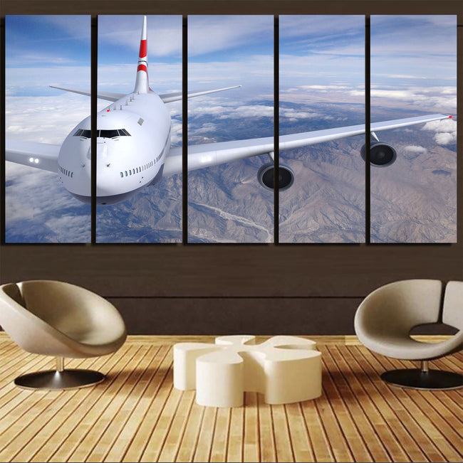 Graphical Boeing 747 Printed Canvas Prints (5 Pieces) Aviation Shop