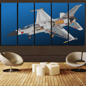 Graphical Fighting Falcon F16 Printed Canvas Prints (5 Pieces) Aviation Shop