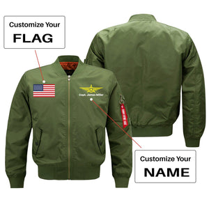 Custom Flag & Name with Badge 3 Designed Pilot Jackets Pilot Eyes Store Green (Thin) S (US XXS)