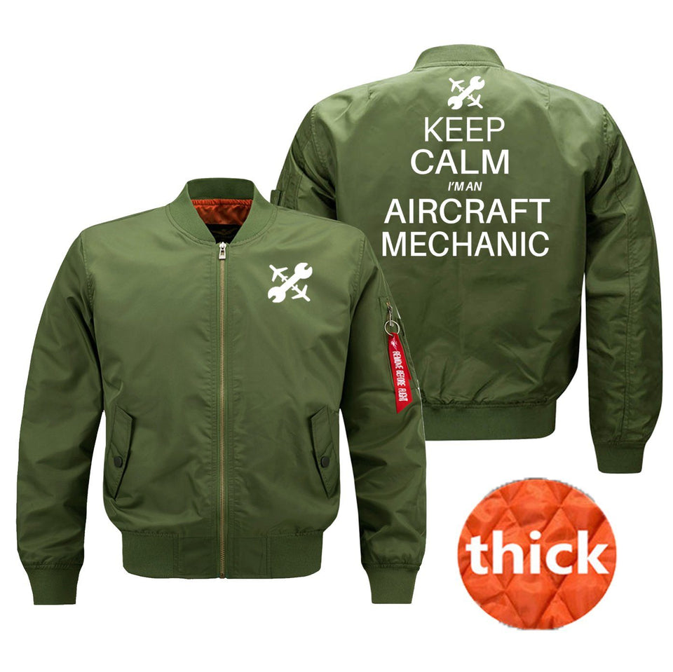 Keep Calm I'm an Aircraft Mechanic Designed Bomber Jackets (Customizable) Pilot Eyes Store Green (Thick) M (US XS)
