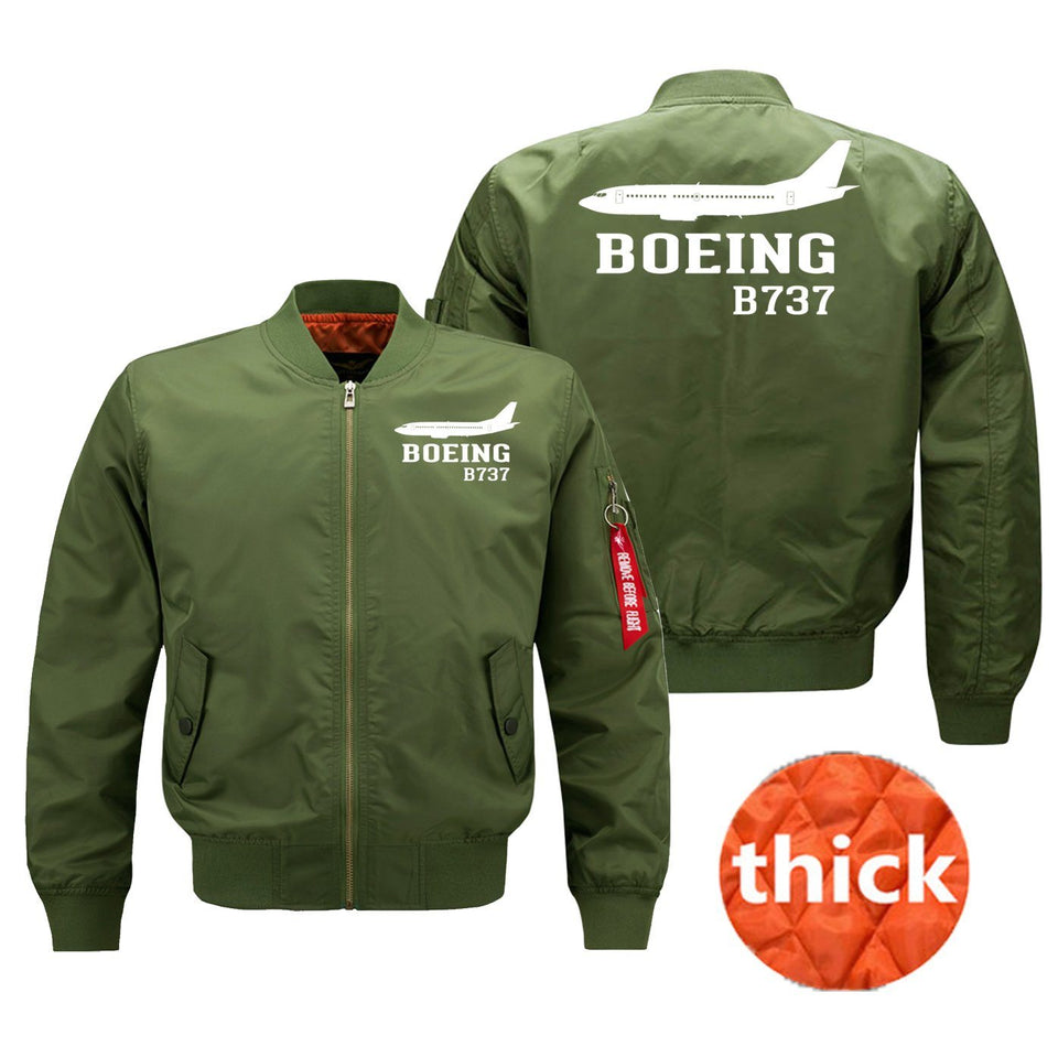 Boeing 737 Printed Pilot Jackets (Customizable) Pilot Eyes Store Green (Thick) M (US XS)