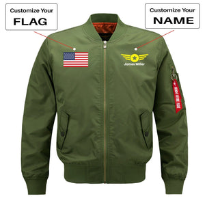 Custom Flag & Name with Badge 4 Designed Pilot Jackets Aviation Shop