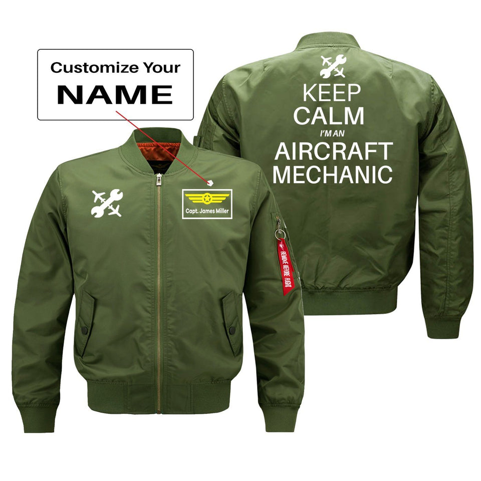 Keep Calm I'm an Aircraft Mechanic Designed Bomber Jackets (Customizable) Pilot Eyes Store Green (Thin) + Name M (US XS)