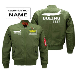 Boeing 737 Printed Pilot Jackets (Customizable) Pilot Eyes Store Green (Thin) + Name M (US XS)