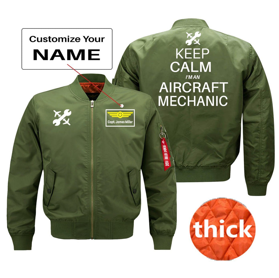 Keep Calm I'm an Aircraft Mechanic Designed Bomber Jackets (Customizable) Pilot Eyes Store Green (Thick) + Name M (US XS)