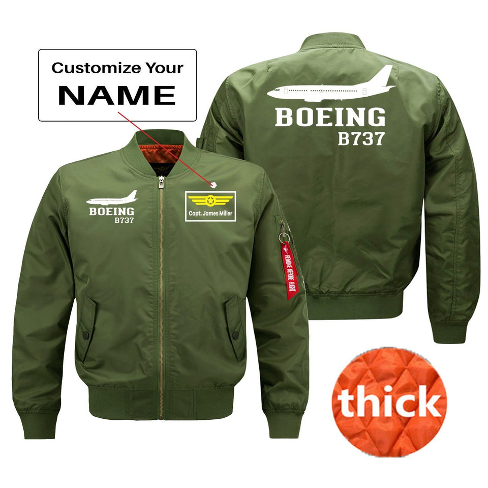Boeing 737 Printed Pilot Jackets (Customizable) Pilot Eyes Store Green (Thick) + Name M (US XS)