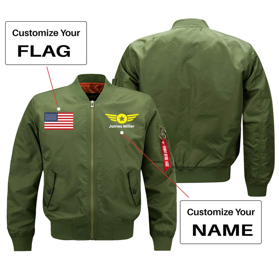 Custom Flag & Name with Badge 4 Designed Pilot Jackets Aviation Shop Green (Thin) + Name S (US XXS)