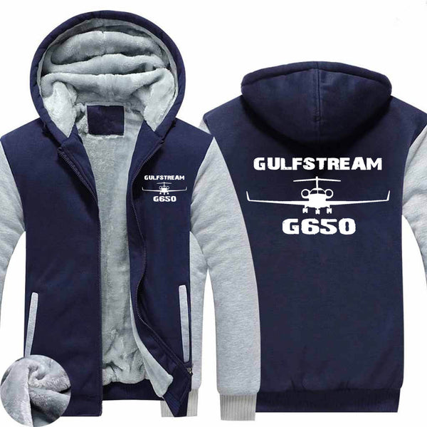 Gulfstream G650 & Plane Designed Zipped Sweatshirts