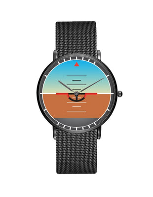 Airplane Instrument Series (Gyro Horizon) Stainless Steel Strap Watches Pilot Eyes Store Black & Stainless Steel Strap