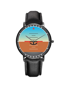 Airplane Instrument Series (Gyro Horizon) Leather Strap Watches Pilot Eyes Store Black & Black Leather Strap