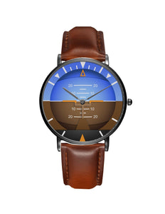 Airplane Instrument Series (Gyro Horizon 2) Leather Strap Watches Pilot Eyes Store Black & Brown Leather Strap