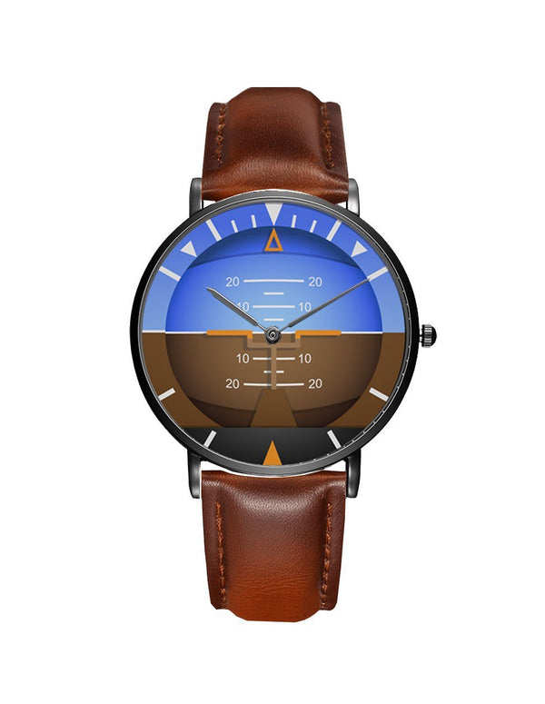 Airplane Instrument Series (Gyro Horizon 2) Leather Strap Watches Pilot Eyes Store Silver & Black Nylon Strap