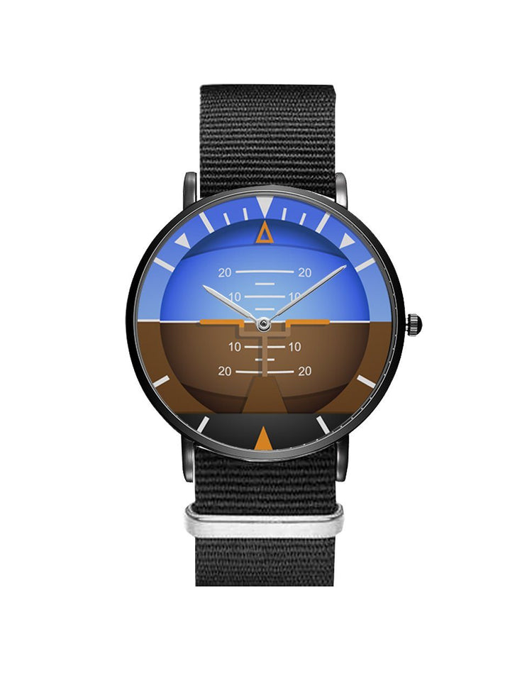 Airplane Instrument Series (Gyro Horizon 2) Leather Strap Watches Pilot Eyes Store Black & Black Nylon Strap