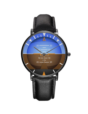 Airplane Instrument Series (Gyro Horizon 2) Leather Strap Watches