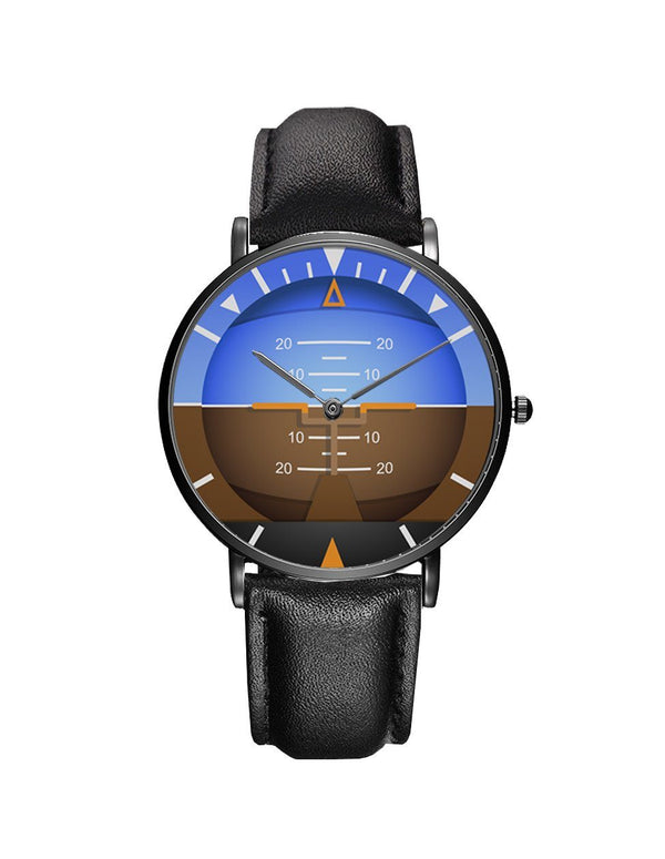 Airplane Instrument Series (Gyro Horizon 2) Leather Strap Watches Pilot Eyes Store Black & Black Leather Strap