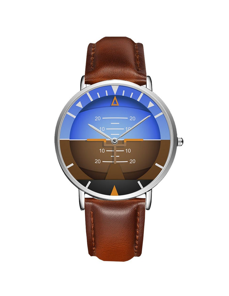 Airplane Instrument Series (Gyro Horizon 2) Leather Strap Watches Pilot Eyes Store Silver & Brown Leather Strap