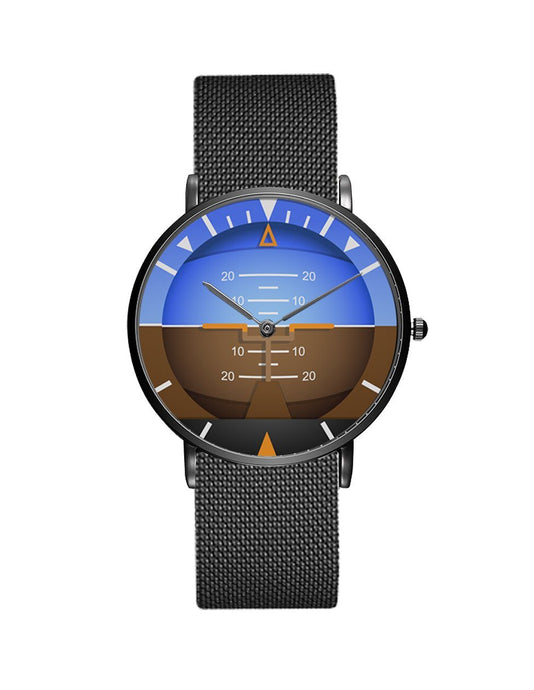Airplane Instrument Series (Gyro Horizon 2) Stainless Steel Strap Watches Pilot Eyes Store Black & Stainless Steel Strap