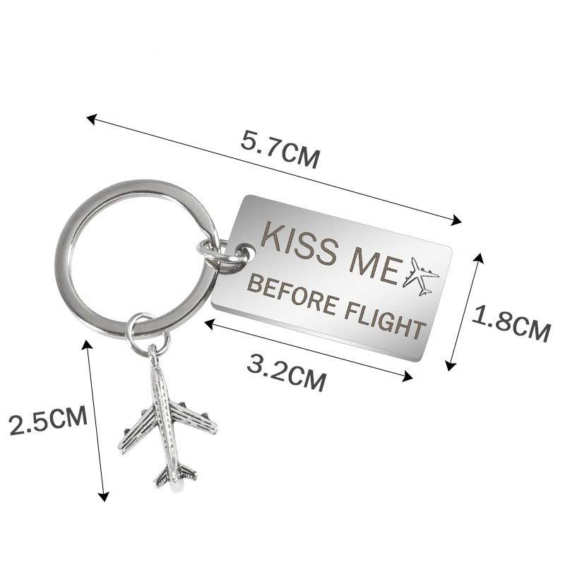 Kiss Me Before Flight Tagged Airplane Key Chain Aviation Shop
