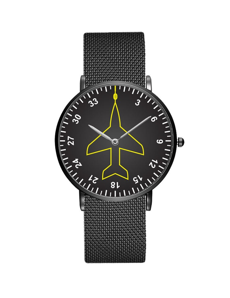 Airplane Instrument Series (Heading) Stainless Steel Strap Watches Pilot Eyes Store Black & Stainless Steel Strap