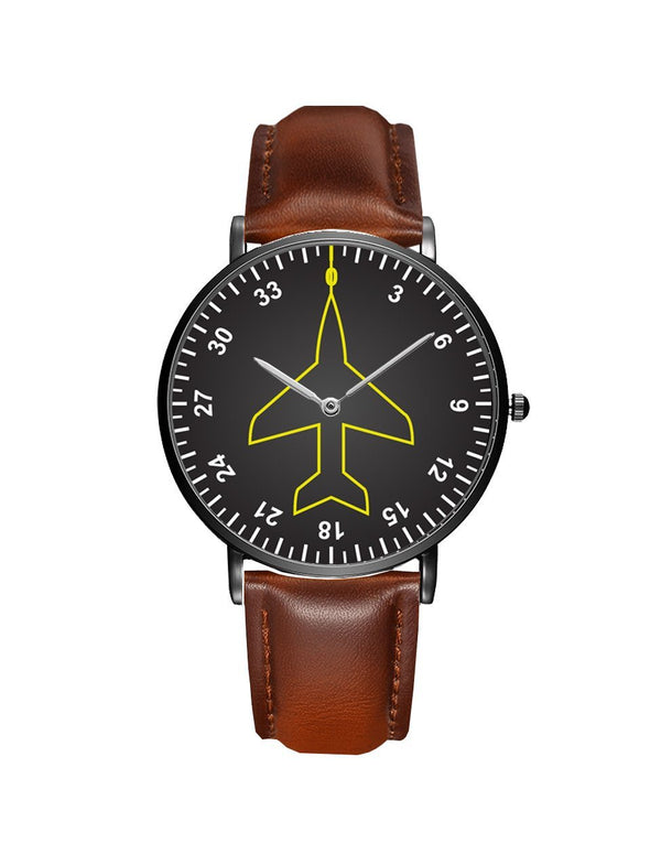 Airplane Instrument Series (Heading) Leather Strap Watches Pilot Eyes Store Silver & Black Nylon Strap