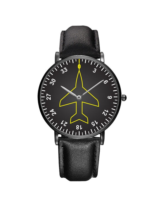 Airplane Instrument Series (Heading) Leather Strap Watches Pilot Eyes Store Black & Brown Leather Strap