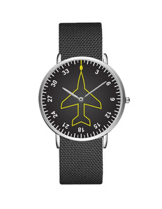 Airplane Instrument Series (Heading) Stainless Steel Strap Watches Pilot Eyes Store Silver & Silver Stainless Steel Strap