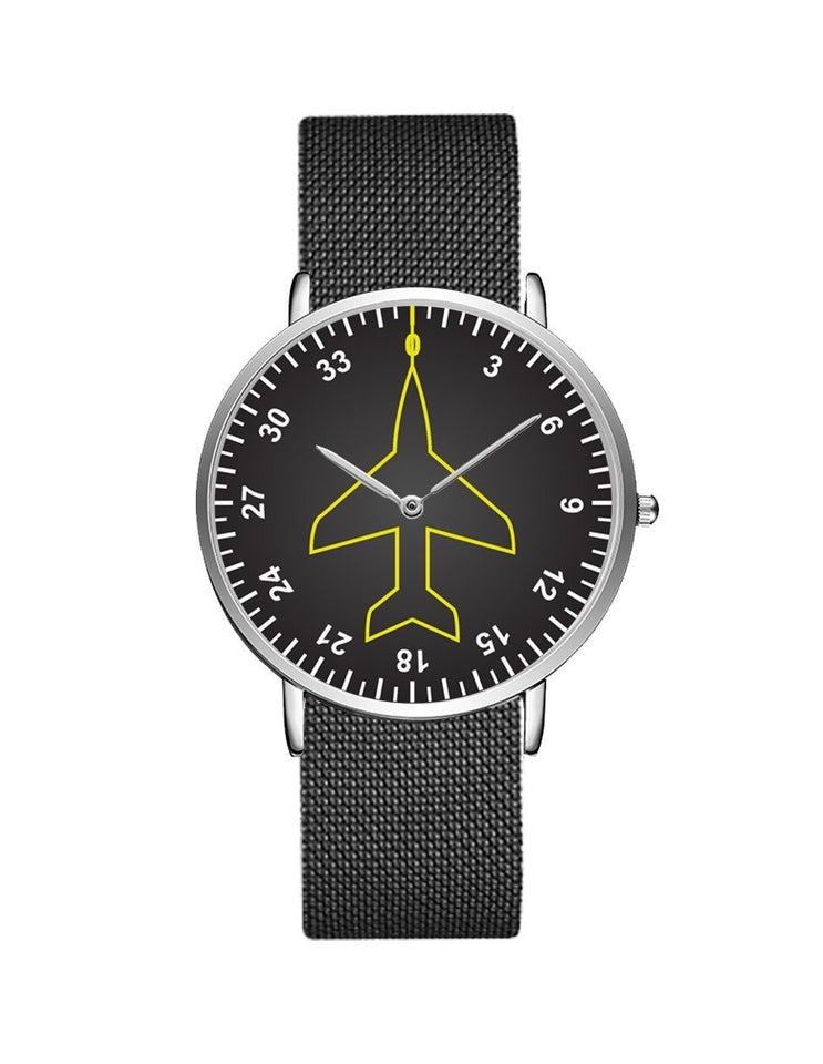 Airplane Instrument Series (Heading) Stainless Steel Strap Watches Pilot Eyes Store Silver & Black Stainless Steel Strap