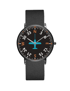 Airplane Instrument Series (Heading2) Stainless Steel Strap Watches Pilot Eyes Store Black & Stainless Steel Strap