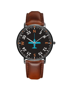 Airplane Instrument Series (Heading2) Leather Strap Watches Pilot Eyes Store Silver & Black Nylon Strap