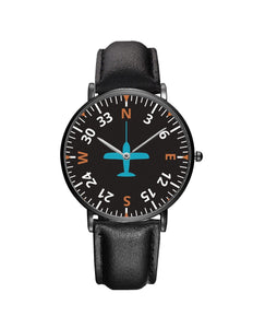 Airplane Instrument Series (Heading2) Leather Strap Watches Pilot Eyes Store Black & Black Leather Strap