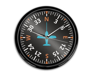 Airplane Instruments (Heading2) Designed Wall Clocks Aviation Shop
