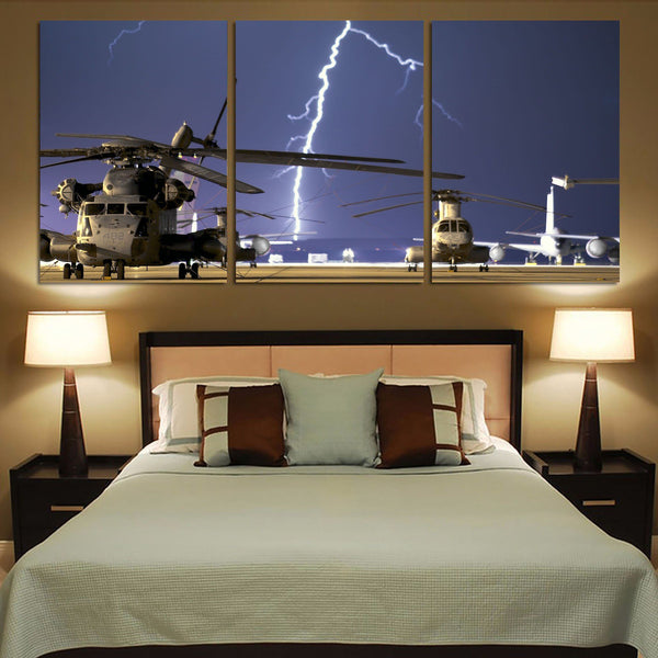 Helicopter & Lighting Strike Printed Canvas Posters (3 Pieces)