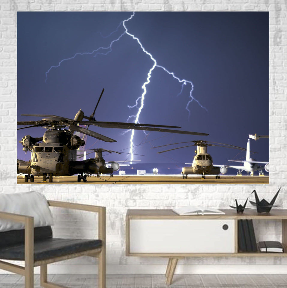 Helicopter & Lighting Strike Printed Canvas Posters (1 Piece) Aviation Shop