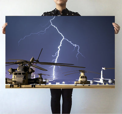 Helicopter & Lighting Strike Printed Posters