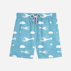 Helicopters & Clouds Designed Swim Trunks